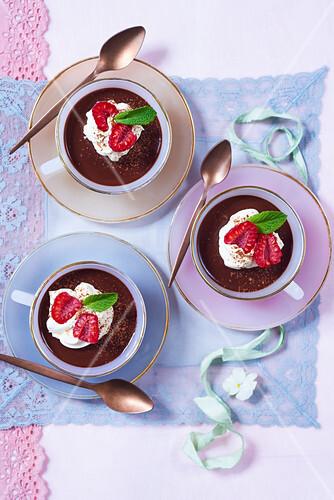 Chocolate cream with raspberries and cream