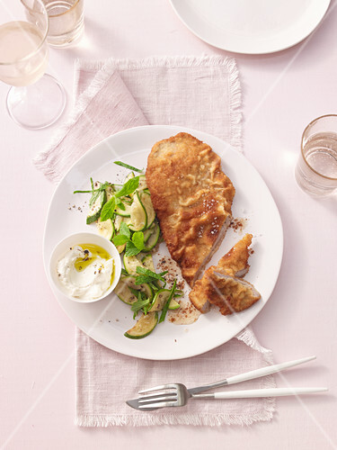 Parmesan schnitzel with zucchini and mint