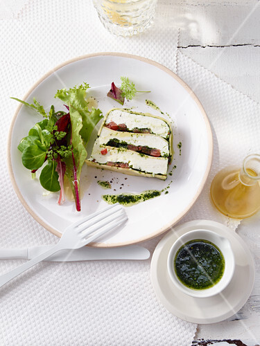 Yoghurt and cheese terrine with chervil oil