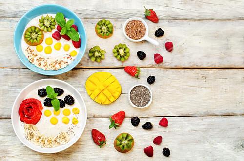 Fruits and berries breakfast oatmeal porridges