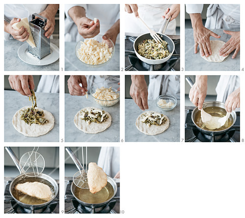 Fried pizza pockets with chicory, olives and anchovies being made