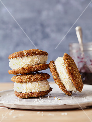 Anzac Icecream sandwiches on plate