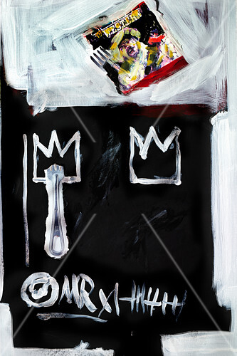 Food art: a picture of a fork and crowns (inspired by Jaen Michel Basquiat)