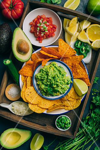 Typical mexican guacamole snack with nachos