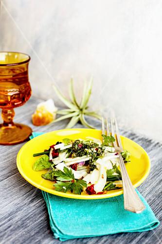 Fennel salad with herbs andItalian style salsa verde