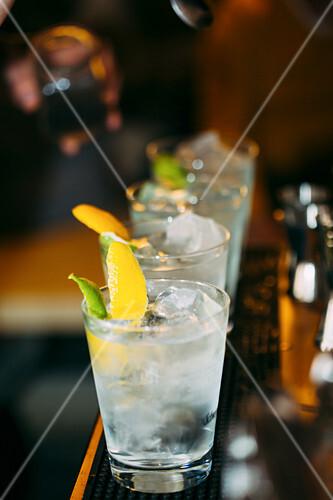 Barman preparing cocktails in a pub