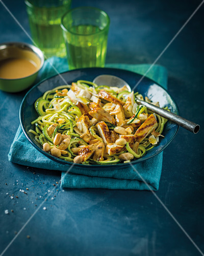 Raw marrow and chicken salad with satay dressing