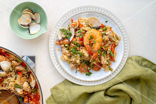 Spanish paella with chorizo and prawns
