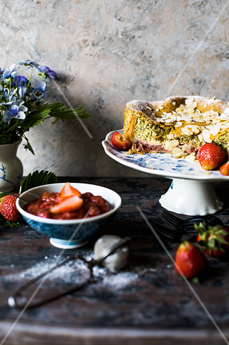 Lemon poppy seed cake with rhubarb and strawberry compote
