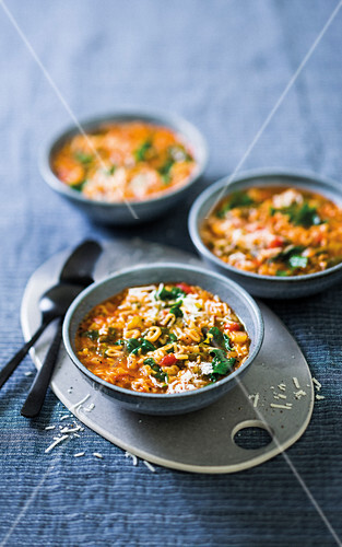 Alphabet pasta soup with fennel and kale