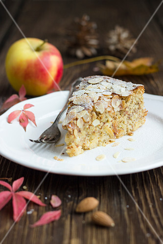 A slice of quick, easy apple and almond cake
