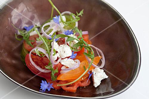 Feta cheese tomato salad with wildflower