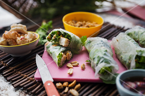 Vietnamese spring rolls with prawns