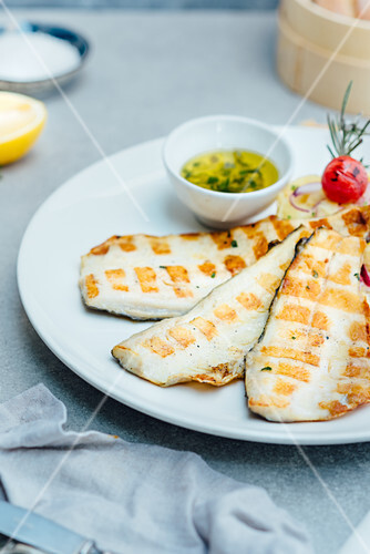 Grilled hake with sour dip