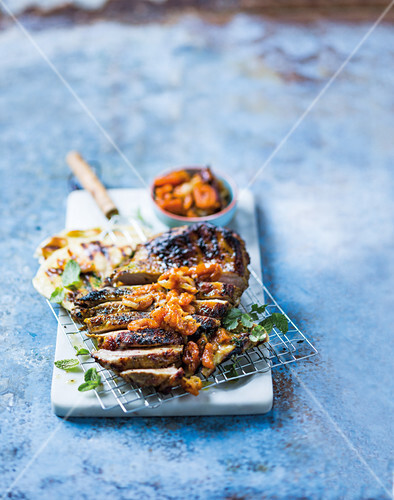 Curried amasi lamb with dried apricot chutney
