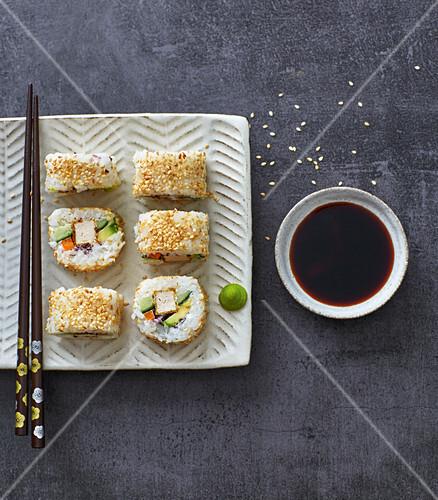 No-nori California rolls with fried tofu