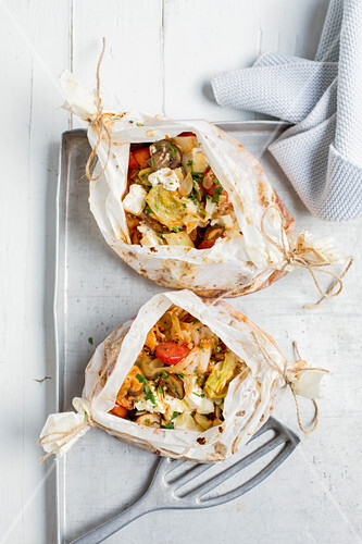 Jaroma cabbage and mushroom parcels with almonds and feta cheese