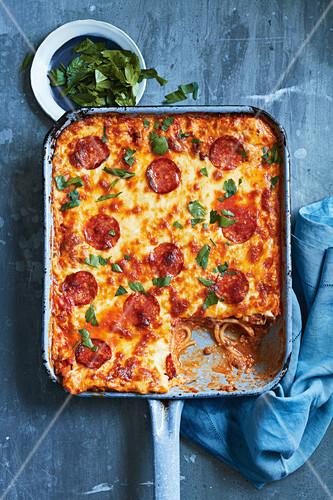 Spaghetti, pepperoni and lentil bake