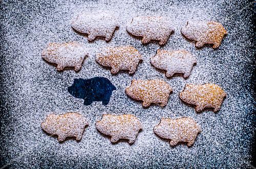 Lebkuchenschweinchen mit Puderzucker als Glücksbringer