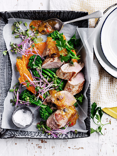 Quick Roast Pork with Pear and Apricot Relish