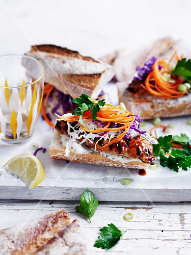 Barbecued Pork Hot Dogs with Crunchy Slaw