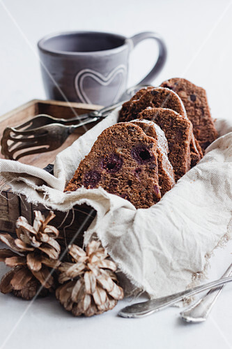 Mulled wine and cherry cake with shadow morels and marzipan