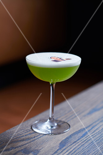 Basil cocktail with egg white