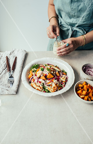 Butternut squash salad with haloumi
