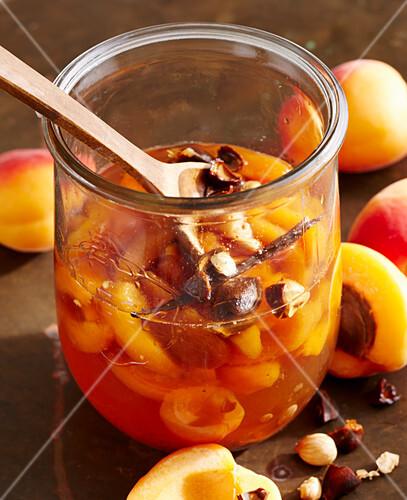 Selbstgemachter Aprikosenlikör mit Kernen, Früchten, Vanille und Weinbrand