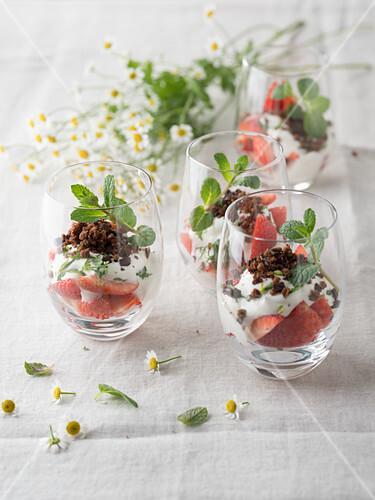 Mint yoghurt on strawberries