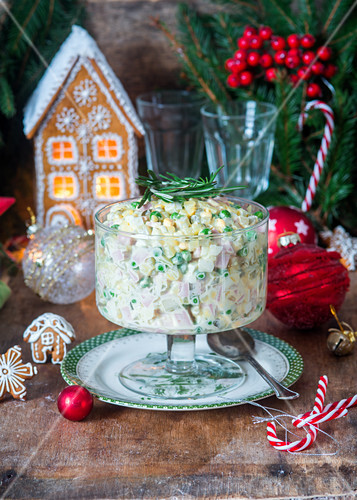 Russain traditional salad Olivier for Christmas