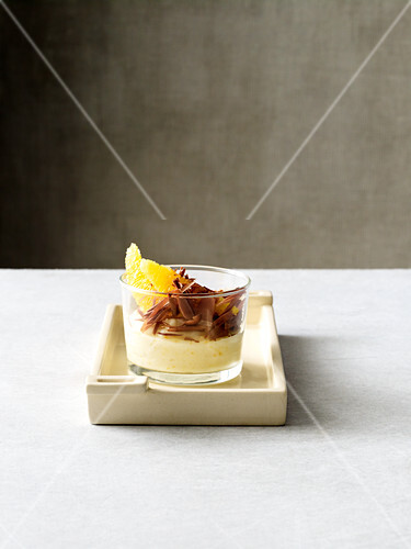 Orange yoghurt jelly with grated chocolate