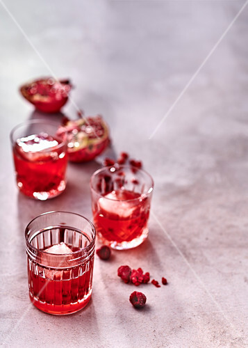 Lime, pomegranate and raspberry whisky sours