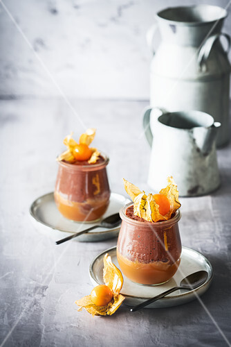 Chocolate and salted caramel mousse with physalis
