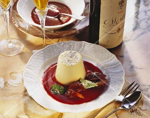 Panna cotta (turned-out cream dessert), Emilia-Romagna, Italy