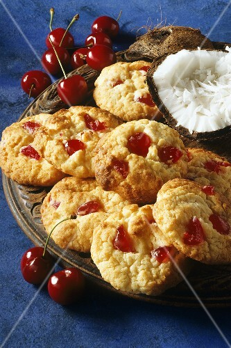 Coconut cherry biscuits