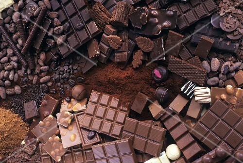 Chocolate still life with chocolate, cocoa & sweets