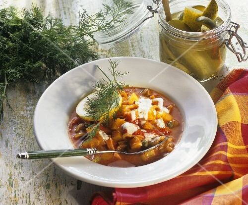 Solyanka (Russian stew with sausage, vegetables & sour cream)