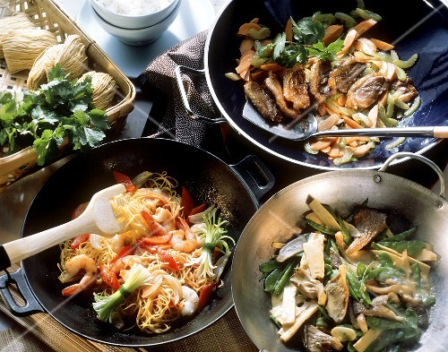 Three wok dishes (noodles & shrimps; duck; vegetable curry)