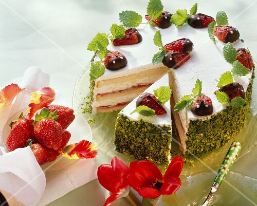 Ladybird cake, a piece cut