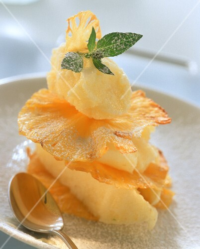 Pineapple sorbet with pineapple chips