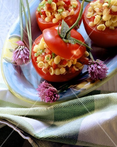 Tomatoes stuffed with pasta salad