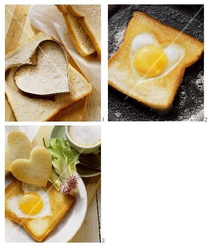 Making heart-shaped fried egg on toast
