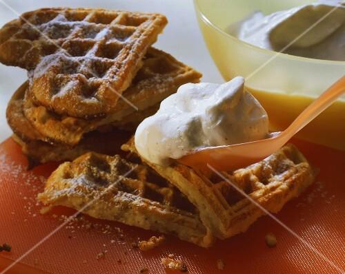 Banana waffles with vanilla cream