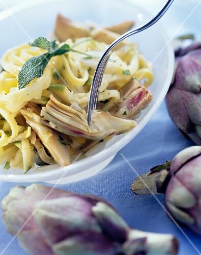 Pasta e carciofi (Ribbon pasta with artichokes, Italy)