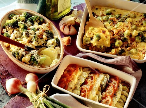 Vegetable casserole and two vegetable gratins