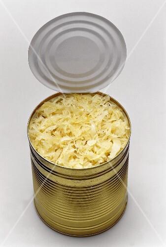 Sauerkraut in an opened tin