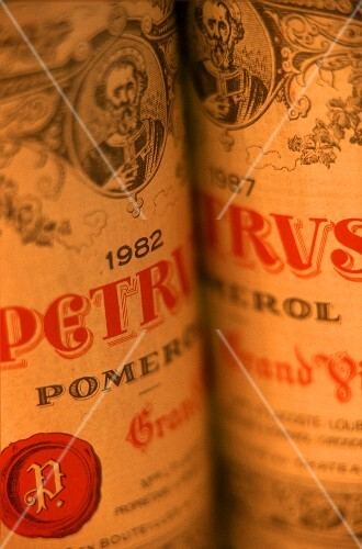 Bottles of luxury wine Chateau Petrus (1982), France