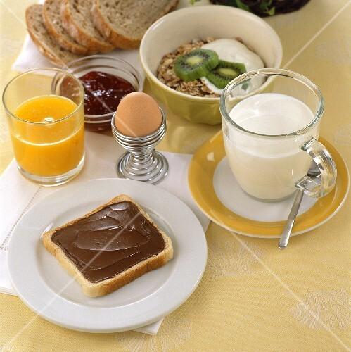 Breakfast: bread & nut-nougat spread, juice, milk, egg, muesli