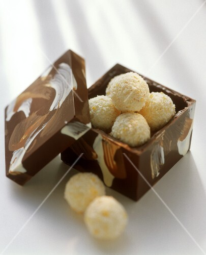 Coconut truffle in a chocolate box